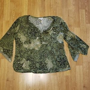 Olive green floral blouse plus size 2X